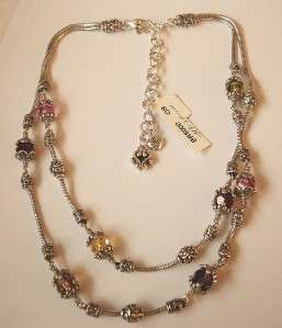 BRIGHTON SILVER CRYSTAL GLASS MOUNTAIN NECKLACE BRACELET EARRINGS 3