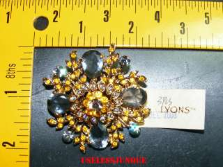 ERICA LYONS GOLD PLATED RHINESTONE PIN BROOCH #119