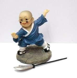 High Quality Shaolin Kung Fu Kid Long Knife Figure Blue