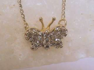 14K SOLID WHITE YELLOW GOLD DIAMOND BUTTERFLY CHARM PENDANT NECKLACE