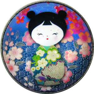 Japanese Kokeshi Doll Crystal Dome Button 1 & 3/8 KD15