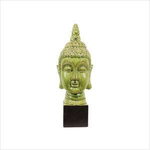 Urban Trends 24 Green Ceramic Pedestal Buddha Statue Decor