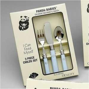 Steel Panda Babies 3 Piece Baby Blue Childs Set