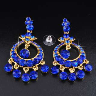 Navy Blue Ringed Circle Rhinestone Crystal Golden Necklace Chandelier