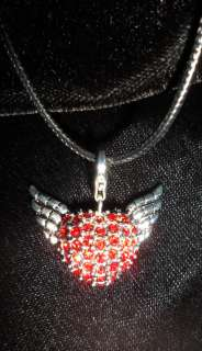 Angel Wings & Red Crystal Heart Pendant Necklace