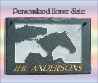 100% NATURAL SLATE PERSONALIZED HORSE PLAQUE SIGN GIFT