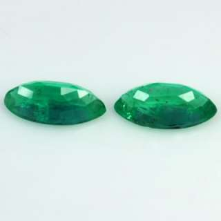 Natural Top Green Emerald Marquise Cut Rare Pair From Zambia Unheated