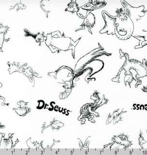 FAT QUARTER  Celebrate Dr Seuss Characters White Black