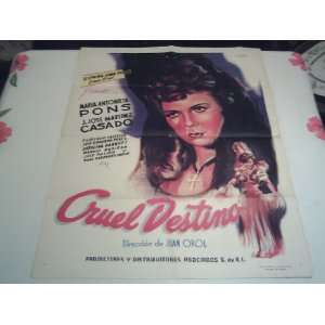 Original Mexican Movie Poster Cruel Destino Maria Antonieta Pons Juan