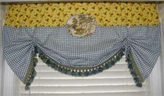 Custom VALANCE French Country Roosters Balloon CURTAIN Yellow Blue