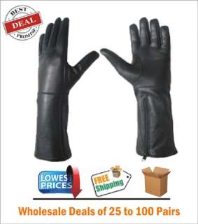 Winter Long Real Leather Black Gloves For Mens 75 Pairs Lot Deal S,M.L
