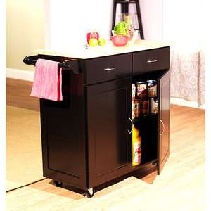 Large Kitchen Cart, Black with Wood Top