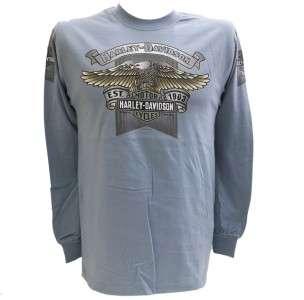 Harley Davidson Las Vegas Dealer Long Sleeve Tee T Shirt BLUE MEDIUM