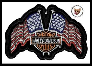 HARLEY DAVIDSON USA FLAGS VEST JACKET PATCH ** PATRIOTIC PATCH **NIP