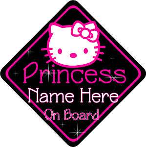 Hello Kitty Princess Personalised Baby On Board Car Sign New Hot Pink