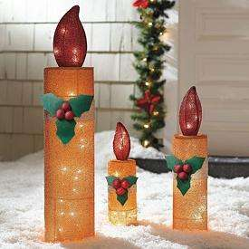 Outdoor holiday lighted animated christmas trumpeting for Outdoor christmas candles