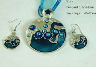 Noblest Gemstone Jewelry Rounded Necklace Pendant Earrings Set Hot