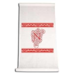 Inch Aisle Runner, Fancy Font Letter N, White with Red: Home & Kitchen