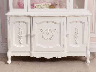 Cottage Chic White Glass China Cabinet French Style Roses Vintage