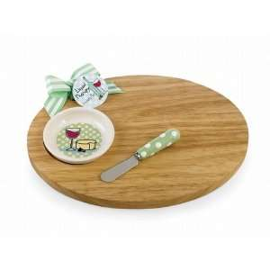 Mud Pie Round Cutting Board, Dip Bowl & Spreader Set