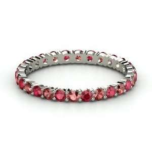Rich & Thin Eternity Band, 14K White Gold Ring with Red Garnet & Ruby