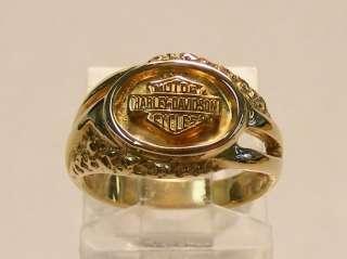 14K YELLOW GOLD LADIES HARLEY DAVIDSON LADIES MOTORCYCLE CLUB RING