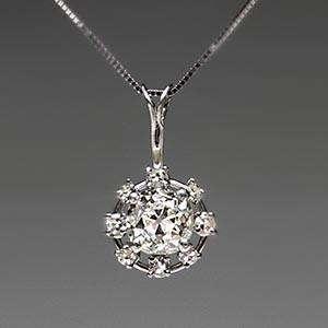 Victorian Era Antique Old Mine Cut Diamond Pendant Solid Platinum
