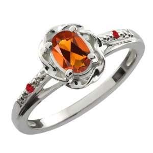Orange Red Madeira Citrine Red Rhodolite Garnet 14K White Gold Ring