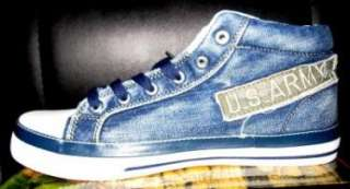 Mens blue high top denim sneaker shoe SZ 7.5 12 US NIB
