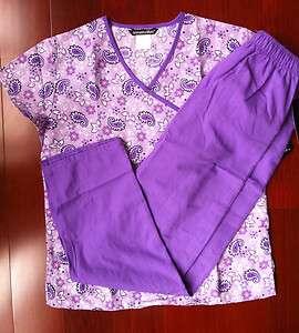 New Nursing Scrub Set Multi Pretty Paisley Top, Iris Purple trim and