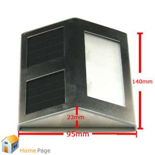 Solar Powered Power White LED Stairs Lamp Lights Pathway Step Wall