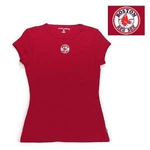 Boston Red Sox MLB Signature Tee Womens Top (Dark Red