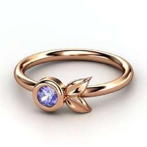 Boutonniere Ring, Round Tanzanite 14K Rose Gold Ring Jewelry