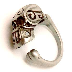 Tribal Tattoo Skull Maori Hawaiian Pewter Ring Silver