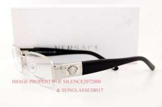 7546b7cac8 Brand New VERSACE Eyeglasses Frames 1175B 1000 SILVER BLACK 100% on ...