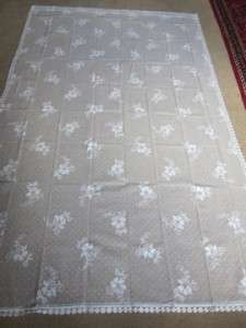 floral sprig white Cotton readymade LACE CURTAIN PANEL 84 2.1m