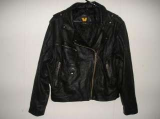 VIRGINIA SLIMS WEAR Black Leather MOTORCYCLE Biker Jacket sz