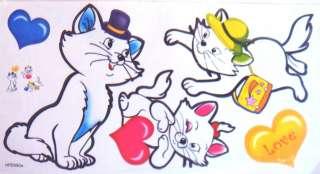 LOVEL FUNNY WHITE CATS VINYL WALL STICKER KIDS ROOM DECOR