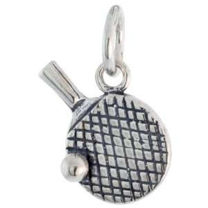925 Sterling Silver Table Tennis Racquet & Ball Pendant (w/ 18 Silver